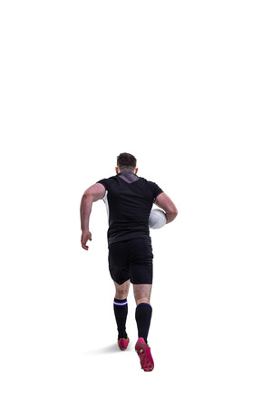 rugby: Rugby player running with the ball on white background