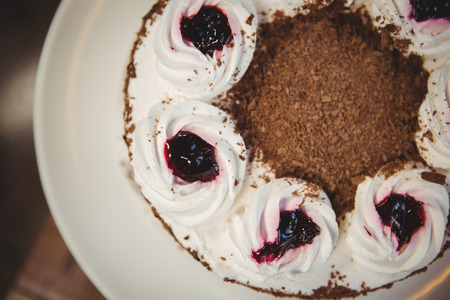 gateau: Close up view of chocolate gateau at coffee shop