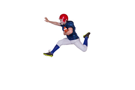 adversary: American football player jumping with the ball on a white background