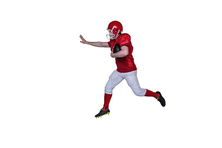 adversary: American football player running with the ball on a white background