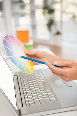 colour chart: Casual designer working with laptop and colour chart in the office