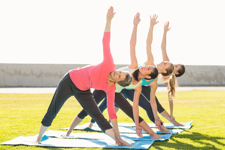 parkland: Sporty women doing triangle pose in yoga class in parkland