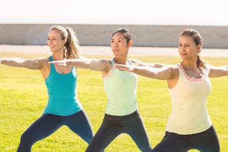 mujeres juntas: Mujeres sonrientes deportivo haciendo yoga juntos en un parque Foto de archivo
