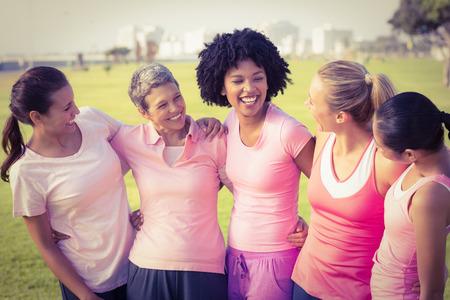 cancer de mama: Riendo las mujeres que usan de color rosa para el cáncer de mama en un parque Foto de archivo