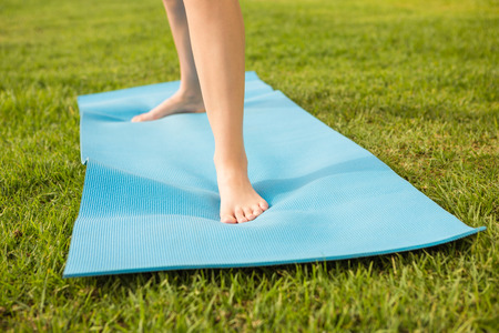 parkland: Feet standing on exercise mat in parkland