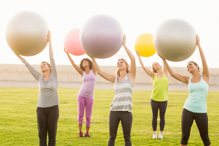 parkland: Smiling sporty women working out with exercise balls in parkland