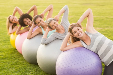 women working out: Portrait of smiling sporty women working out with exercise balls in parkland