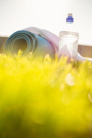 water bottle: Water bottle, towel and exercise mat in the grass at promenade Stock Photo