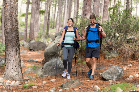 going in: Happy joggers going in the nature Stock Photo
