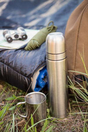 adventuring: Camping equipment in the nature