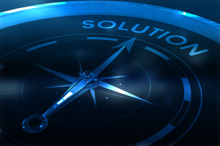 vignette: Compass pointing to solution against purple vignette Stock Photo