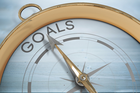 bleached: Compass pointing to goals against bleached wooden planks background
