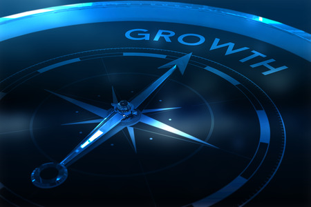 vignette: Compass pointing to growth against purple vignette