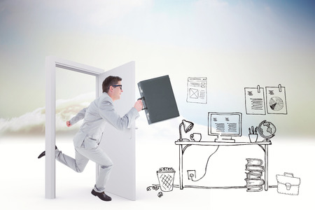 running businessman: Running businessman against doodle office in clouds with door
