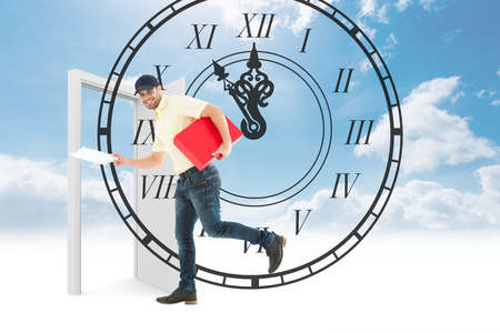 numeral: Delivery man with red box running on white background against roman numeral clock