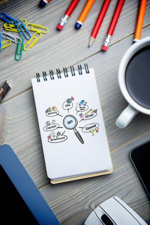 keywording: seo doodle against notepad on desk Stock Photo
