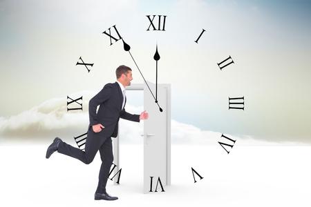 opening door: Businessman running  against opening door in sky