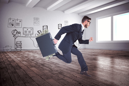 running businessman: Running businessman against doodle office in hallway