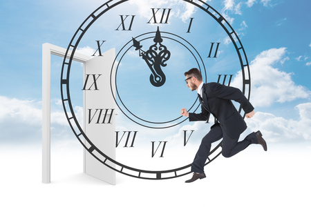 numeral: Geeky young businessman running mid air against roman numeral clock