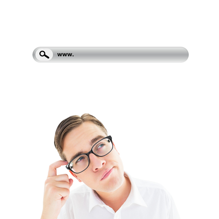 Geeky businessman scratching his head against search engine Stock Photo