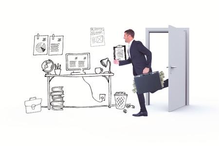 running businessman: Running businessman against doodle office with door