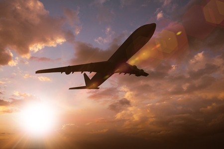 Graphic airplane against sun shining
