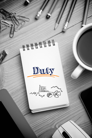 duty: The word duty and alarm clock and graphs vector against notepad on desk Stock Photo