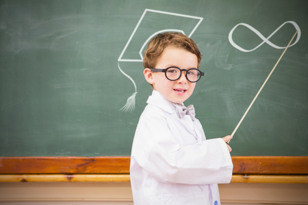 infinite loop: Infinite loop against cute pupil holding stick and pointing blackboard Stock Photo
