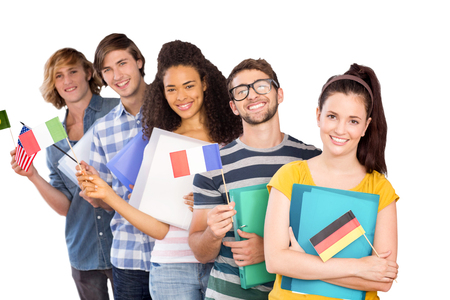 higher intelligence: College students holding flags against white background with vignette