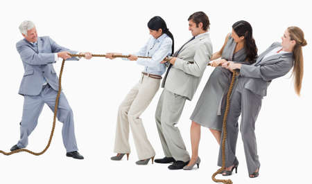 tugging: Boss pulling a rope against his employees with white background