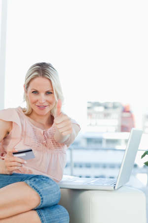 personal shopper: Close up of a blonde approving the shopping online with a laptop on a sofa in a bright living room LANG_EVOIMAGES
