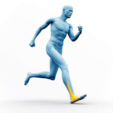 figura humana: Blue human figure running with yellow highlighted ankle on white background