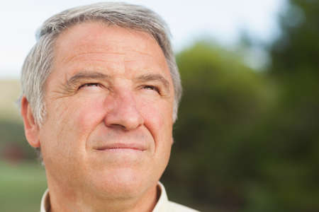 grey haired: Thoughtful grey haired man looking into distance in the countryside