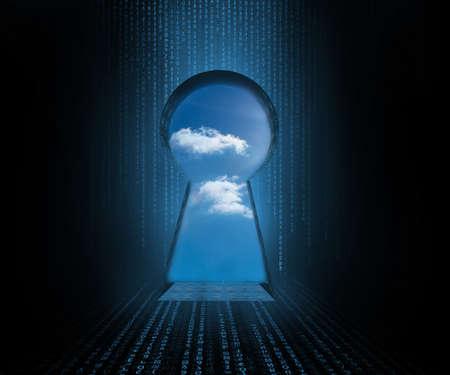 doorway: Doorway revealing cloudy sky in blue and black computer matrix