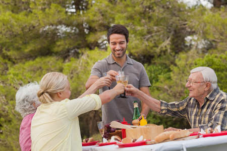 80s adult: Family toasting each other at lunch at picnic table outdoors