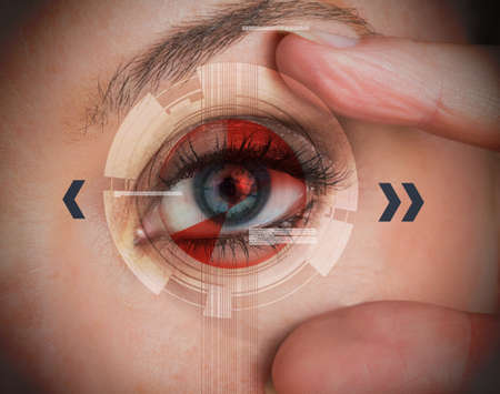 identifying: Woman stretching her blue eye for a security authentication