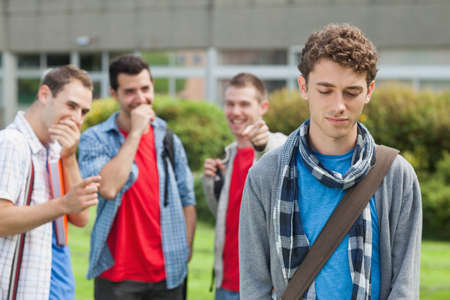 brutish: Lonely student being bullied by group of brutish classmates at the university