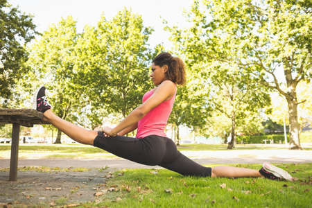 body concern: Rear view of a flexible young woman doing the splits exercise in the park LANG_EVOIMAGES