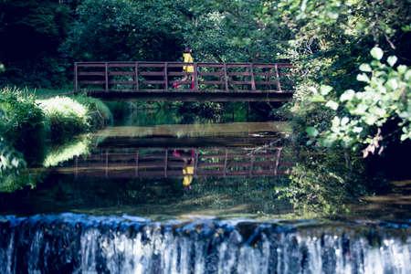 пышной листвой: Woman walking on footbridge over forest waterfall amid lush foliage
