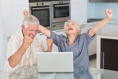 Excited senior couple using the laptop at the table at home in the kitchen LANG_EVOIMAGES