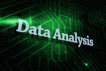 buzzword: The word data analysis against green and black circuit board