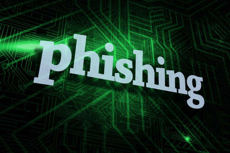 scamming: The word phishing against green and black circuit board