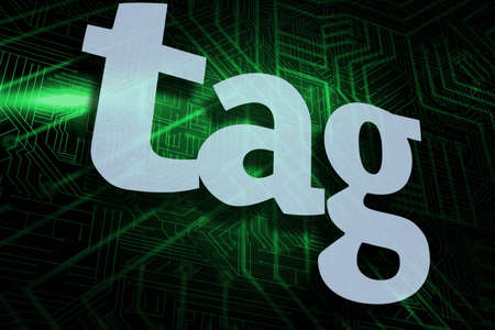 buzzword: The word tag against green and black circuit board
