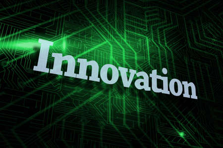 buzzword: The word innovation against green and black circuit board