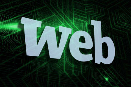 buzzword: The word web against green and black circuit board