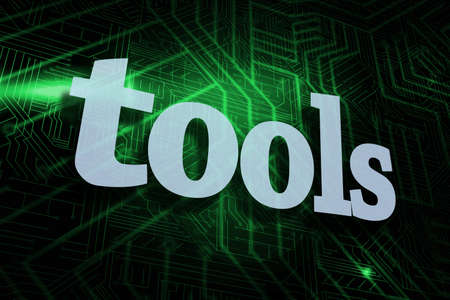 buzzword: The word tools against green and black circuit board