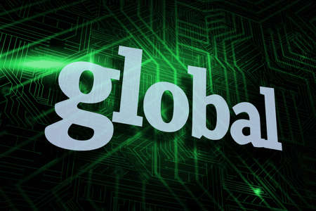 buzzword: The word global against green and black circuit board