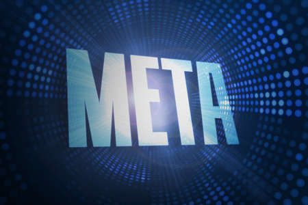 meta: The word meta against futuristic dotted blue and black background LANG_EVOIMAGES