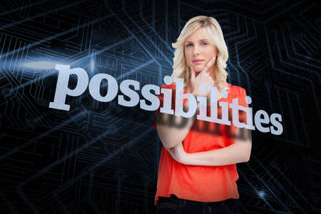 possibilities: The word possibilities and teenager standing upright thoughtfully with her fingers on her chin against futuristic black and blue background LANG_EVOIMAGES