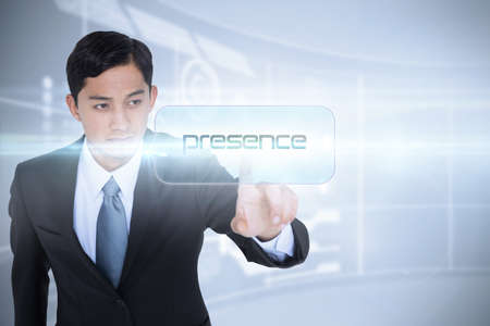 presence: The word presence and unsmiling asian businessman pointing against futuristic technology interface LANG_EVOIMAGES